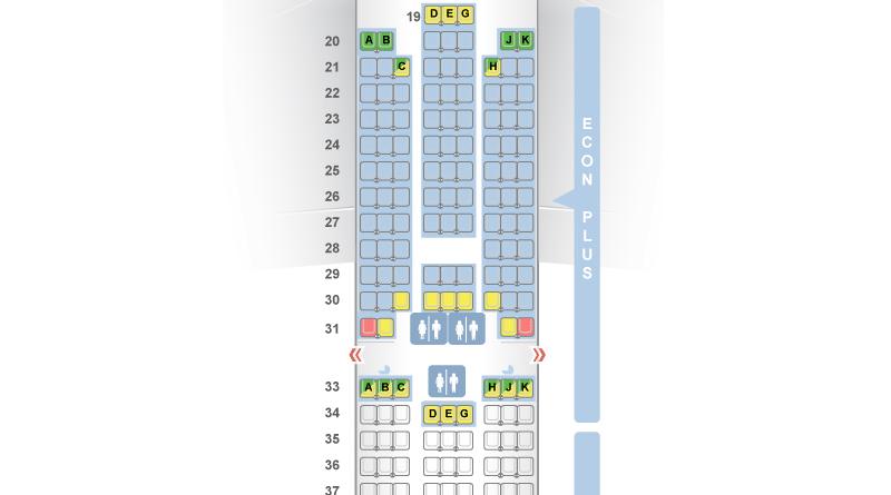 Example of a three-row config on a UA 777-200. (SeatGuru)