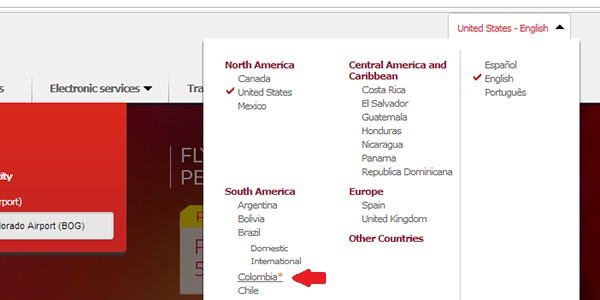 Where to select a different point-of-sale on the Avianca site.