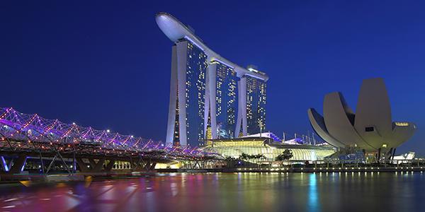 The infamous Marina Bay Sands dotting the Singapore skyline. (Eugene Lim / Flickr)